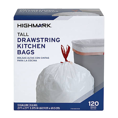 Highmark™ Trash Bags, 13 Gallons, Box Of 120 Bags