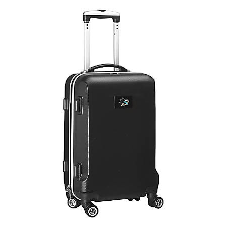 """Denco 2-In-1 Hard Case Rolling Carry-On Luggage, 21""""H x 13""""W x 9""""D, San Jose Sharks, Black"""