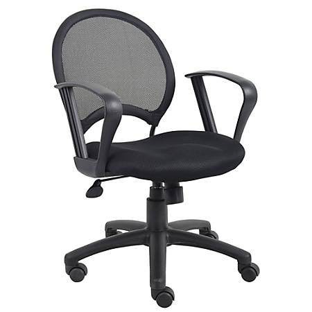 """Boss Office Products Mesh Task Chair With Loop Arms, 38 1/2""""H x 25""""W x 25""""D, Black"""