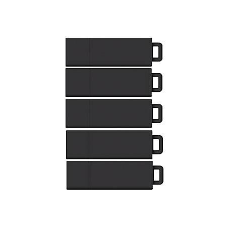 Centon DataStick Pro USB 2.0 Flash Drives, 8GB, Sport Black, Pack Of 5 Flash Drives, DSW8GB5PK