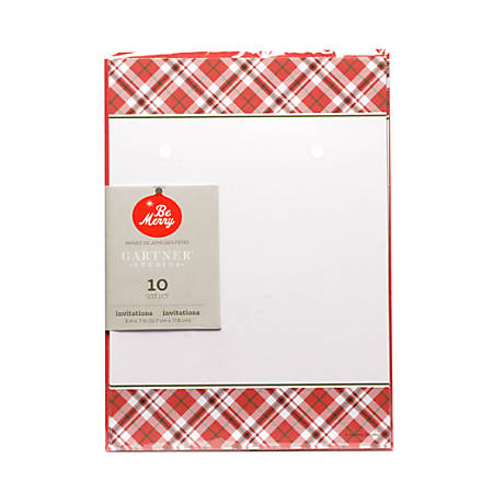 gartner studios red plaid invitations 5 x 7 pack of 10 by office