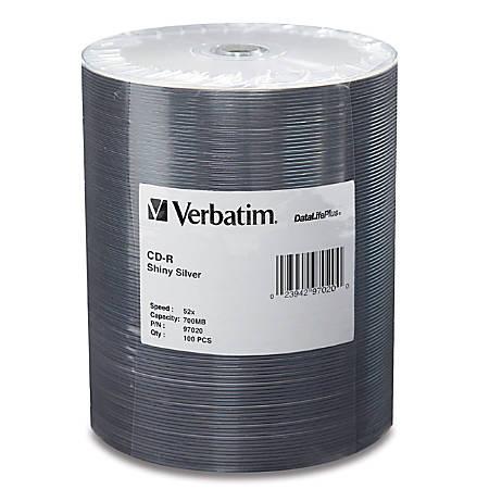Verbatim CD-R 700MB 52X DataLifePlus Shiny Silver Silk Screen Printable - 100pk Tape Wrap Spindle - Printable - Silk-screen Printable