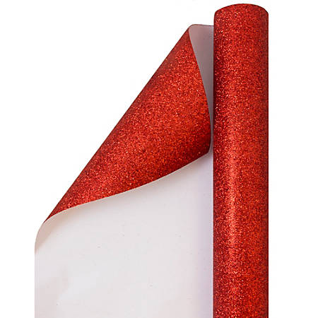 JAM Paper® Wrapping Paper, Glitter, 12 1/2 Sq Ft, Red