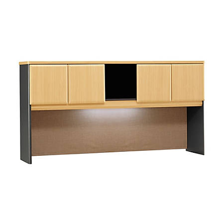 "Bush Office Advantage 72"" Hutch, 36 1/2""H x 71 5/8""W x 13 7/8""D, Beech/Slate, Standard Delivery Service"