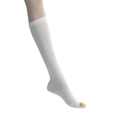 Medline EMS Nylon/Spandex Knee-Length Anti-Embolism Stockings, Small Regular, White, Pack Of 12 Pairs