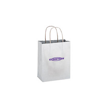 "Large White Paper Shopping Bag, 13""H x 10""W x 5"" Gusset"