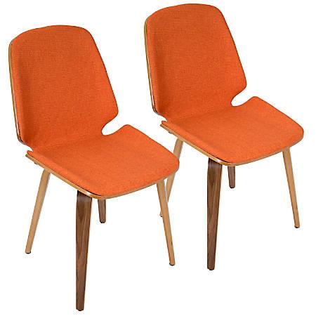 LumiSource Serena Mid-Century Modern Dining Chairs, Orange/Walnut, Set Of 2