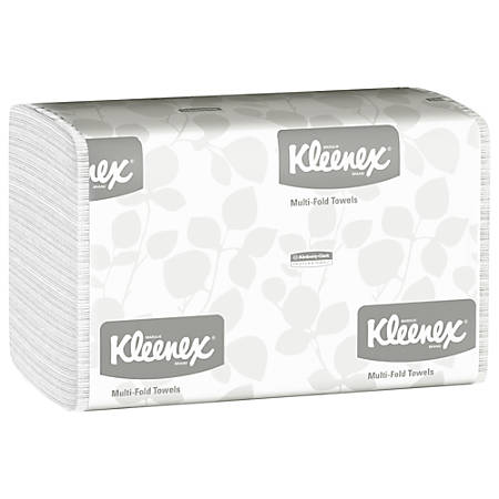 "Kleenex® Multi-Fold 1-Ply Hand Towels, 9 1/5"" x 9 2/5"", 150 Towels Per Sleeve, Case Of 16 Sleeves"
