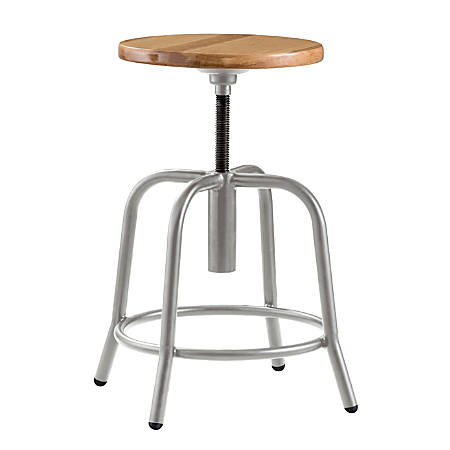 National Public Seating 6800 Height-Adjustable Swivel Stool, Wood/Gray