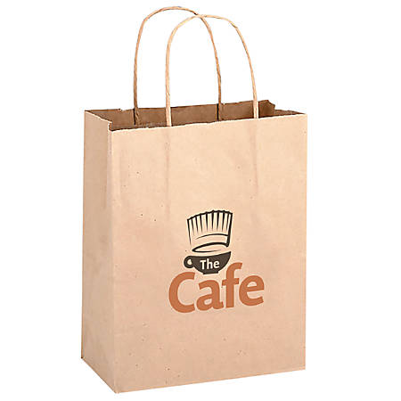 "Small Kraft Paper Shopping Bag, 10 1/2""H x 8""W x 4 1/2"" Gusset"