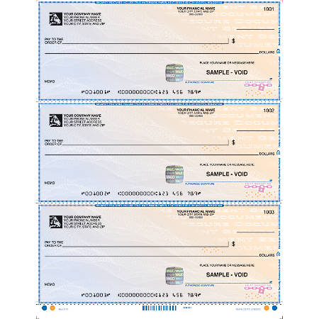 Quicken®, QuickBooks®, Microsoft Money® And Simply Money® Laser Multipurpose Checks, High-Security Laser Draft Checks With Lines, Box Of 250