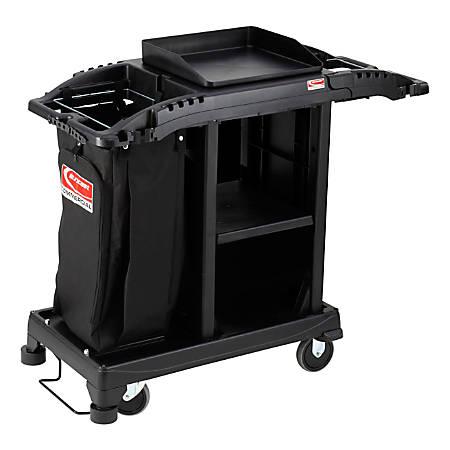 "Suncast Commercial® Plastic Cart, Compact Housekeeping, 46-5/8""H x 23-1/4""W x 43-7/16""D, Black"