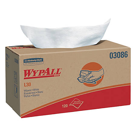 "WypAll L30 Wipers, 10"" x 9 13/16"", 120 Wipers Per Box, Carton Of 10 Boxes"