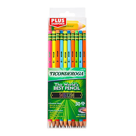 Ticonderoga® Neon Pencils With Bonus Pencil-Shaped Sharpener, 2.2 mm, Assorted Barrel Colors, Pack Of 30 Pencils