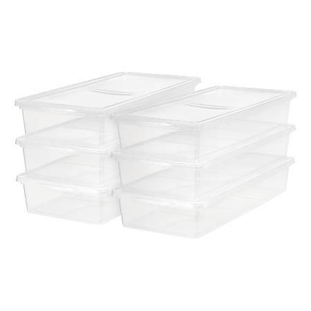 "IRIS Storage Boxes, 41-Quart, 6"" x 16-1/4"" x 35-5/8"", Clear, Set Of 6 Boxes"