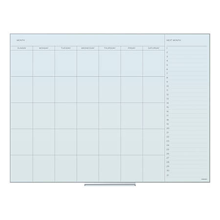 "U Brands Frameless Floating Dry-Erase Calendar Board, Glass, 48"" x 36"", Frosted White"