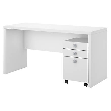 kathy ireland® Office by Bush Business Furniture Echo Credenza Desk With Mobile File Cabinet, Pure White, Premium Installation