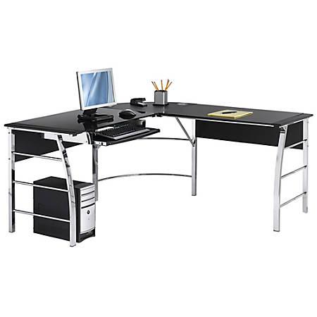 Realspace® Mezza L-Shaped Glass Computer Desk, Black/Chrome