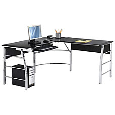 Glass desk for office Diy Realspace Mezza Shaped Glass Computer Office Depot Corner Lshaped Desks Office Depot