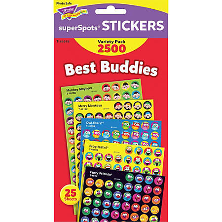 Trend Best Buddies Super Spots Stickers - 2500 (Shape) Shape - Photo-safe, Acid-free, Non-toxic - Assorted - 2500 / Pack