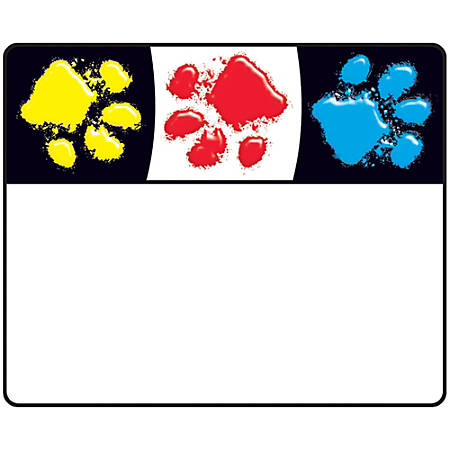 """Trend Paw Print Name Tags - 2.50"""" Length x 3"""" Width - 36 / Pack - Assorted"""