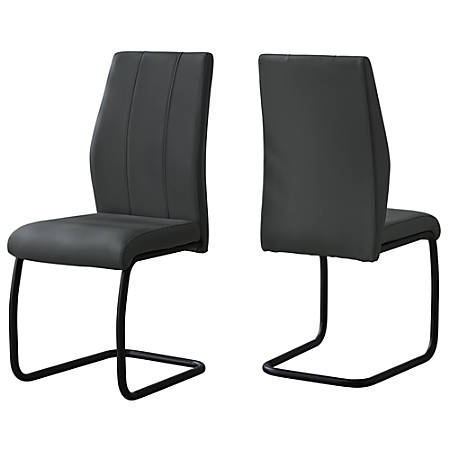 Monarch Specialties Sebastian Dining Chairs, Faux Leather, Gray/Black, Set Of 2 Chairs