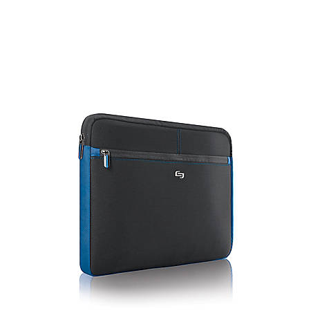 """Solo Neoprene Sleeve For Laptop Computers Up To 16"""", Black/Blue"""