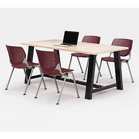 KFI Studios Midtown Table With 4 Stacking Chairs, Kensington Maple/Burgundy