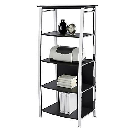 "Realspace® Mezza 60""H 4-Shelf Bookcase, Black/Chrome"