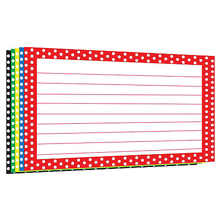 "Top Notch Teacher Products Border Index Cards, 4"" x 6"", Polka Dot, 75 Index Cards Per Pack, Bundle Of 12 Packs"