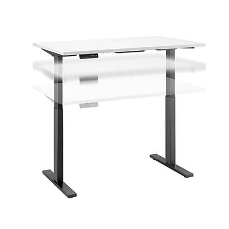 "Bush Business Furniture Move 60 Series 48""W x 30""D Height Adjustable Standing Desk, White/Black Base, Premium Installation"