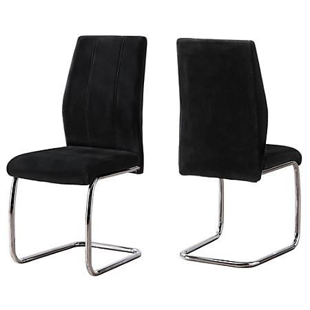 Monarch Specialties Sebastian Dining Chairs, Black Velvet/Chrome, Set Of 2 Chairs