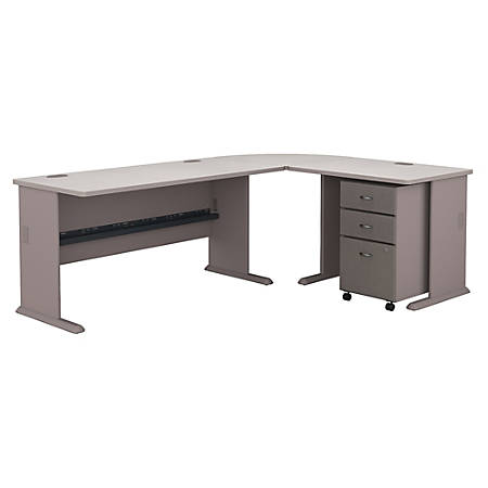 Bush Business Furniture Office Advantage 60W L Shaped Desk With 36W Return And 3 Drawer Mobile File Cabinet, Pewter, Standard Delivery