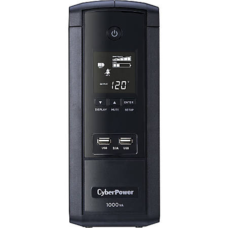 CyberPower 1000VA BRG1000AVRLCD UPS with 600W, AVR, LCD, and 2.1 USB Charging - Mini-tower - 8 Hour Recharge - 1 Minute Stand-by - 120 V AC Input - 120 V AC Output - 10 x NEMA 5-15R