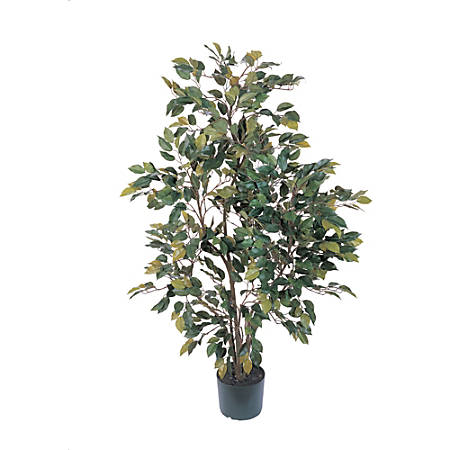 Nearly Natural 4'H Silk Ficus Tree With Pot, Green
