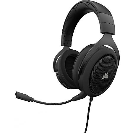 Corsair HS50 Stereo Gaming Headset - Stereo - Mini-phone - Wired - 32 Kilo Ohm - 20 Hz - 20 kHz - Over-the-head - Binaural - Circumaural - Uni-directional, Noise Cancelling Microphone - Carbon