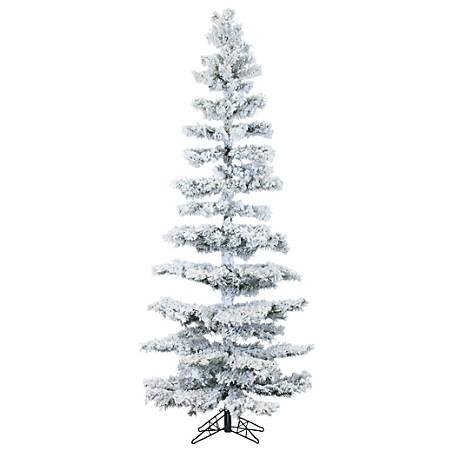 """Fraser Hill Farm 7 1/2"""" Hillside Slim Flocked Pine Artificial Christmas Tree With Smart String Lighting, White/Black"""