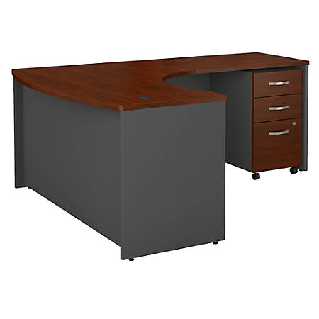 "Bush Business Furniture Components 60""W x 43""D Bow Front L Shaped Desk With 36""W Return And 3 Drawer Mobile File Cabinet, Right Handed, Hansen Cherry, Standard Delivery"