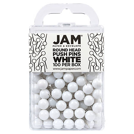 """JAM Paper® Colorful Push Pins, 1/2"""", White"""