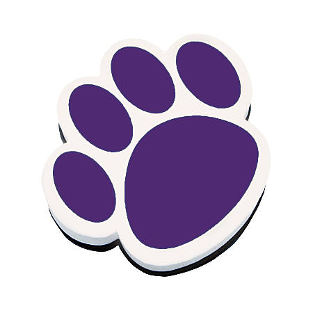 """Ashley Productions Magnetic Whiteboard Erasers, 3 3/4"""", Purple Paw, Pack Of 6"""