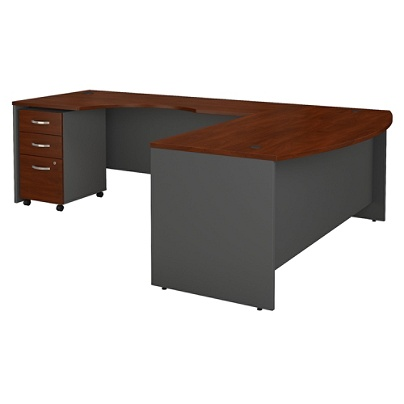 Bush Business Furniture Components 72w Bow Front L Shaped Desk With Left Handed Return And 3 Drawer Mobile File Cabinet Hansen Cherry Premium