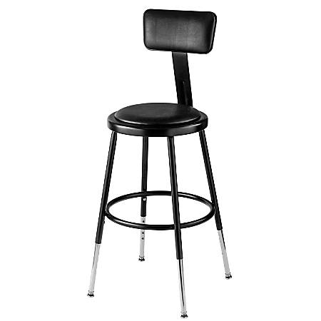 "National Public Seating 6400 Adjustable-Height Stool With Back, 18"", Black"