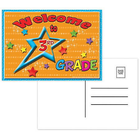 "Top Notch Teacher Products Welcome To 3rd Grade Postcards, 4 1/2"" x 6"", Multicolor, 30 Postcards Per Pack, Bundle Of 12 Packs"