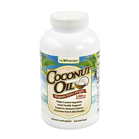 Nu Therapy Coconut Oil Organic Extra Virgin Softgels, 1,000 mg, Pack Of 240