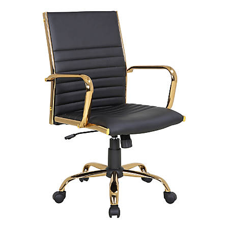 LumiSource Master Faux Leather Contemporary Adjustable Office Chair, Black/Gold