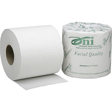 100% Recycled Bathroom Tissue, 1-Ply, 1,000 Sheets Per Roll, Box Of 80 Rolls (AbilityOne 8540-00-530-3770)