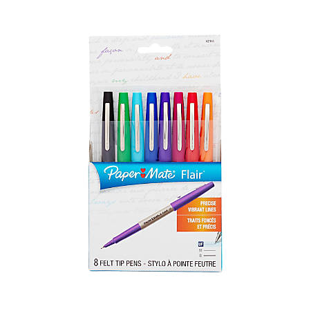 Paper Mate® Flair® Porous-Point Pens, Ultra Fine Point, 0.3 mm, White Barrel, Assorted Ink Colors, Pack Of 8 Pens