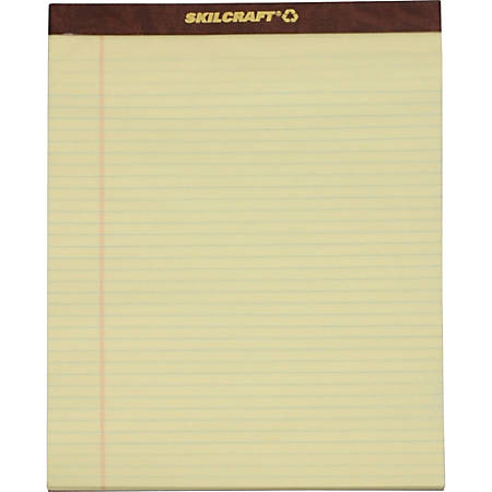 """SKILCRAFT® 30% Recycled Perforated Writing Pads, 8 1/2"""" x 11"""", Yellow, Legal Ruled, Pack Of 12 (AbilityOne 7530-01-356-6727)"""