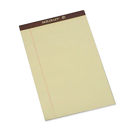 """SKILCRAFT® 30% Recycled Perforated Writing Pads, 8 1/2"""" x 14"""", Yellow, Legal Ruled, Pack Of 12 (AbilityOne 7530-01-209-6526)"""