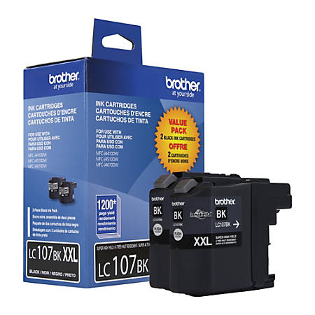 Brother® LC107, High-Yield Black Ink Cartridges, Pack Of 2